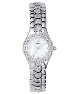 Bulova Watch, Women's Crystal Stainless Steel Bracelet 96T14