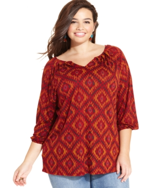 Lucky Brand Plus Size Ikat-Print Peasant Top