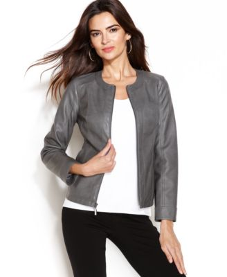Alfani FauxLeather Perforated Jacket