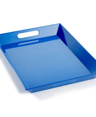 Martha Stewart Collection Blue Melamine Handled Tray
