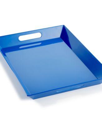 Martha Stewart Collection Blue Melamine Handled Tray