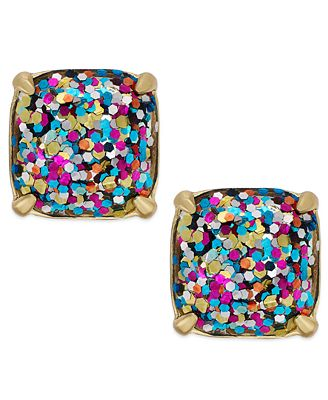 kate spade new york gold tone glitter stud earrings