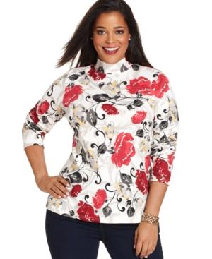 Karen Scott Plus Size Long-Sleeve Floral-Print Top