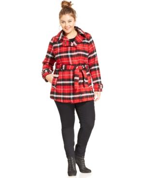 Jou Jou Plus Size Plaid Belted Pea Coat
