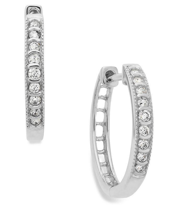 Macy's Diamond Mini Hoop Earrings in 10k White Gold (1/6 ct. t.w.)