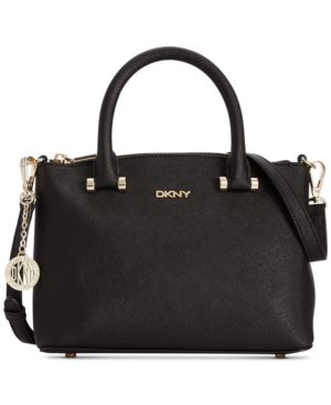 DKNY Saffiano Leather Mini Top Zip Crossbody
