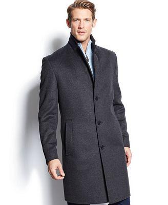 boss hugo boss charcoal twill stratus wool overcoat coats jackets men macy 39 s. Black Bedroom Furniture Sets. Home Design Ideas