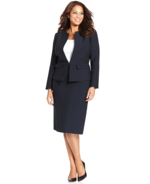 Tahari ASL Plus Size Crinkle Suit