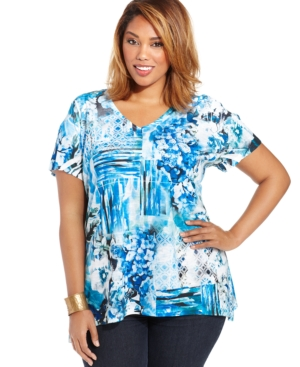 Style & co. Plus Size Short-Sleeve Printed Top