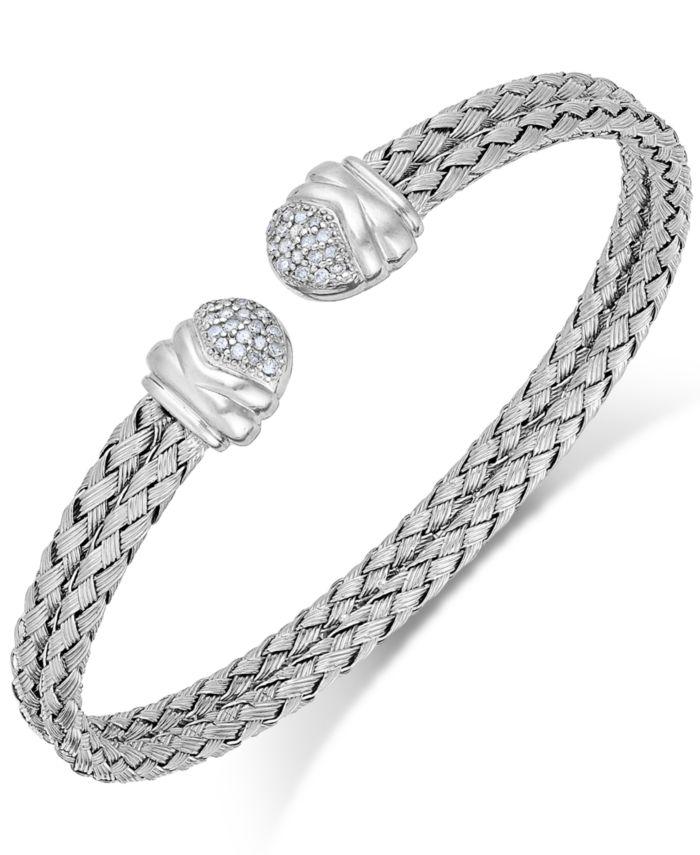 Macy's Diamond Weave Cuff Bracelet in Sterling Silver (1/5 ct. t.w.) & Reviews - Bracelets - Jewelry & Watches - Macy's