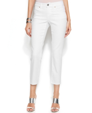 Inc International Concepts Plus Size Slim-Fit Cropped Jeans, White Wash