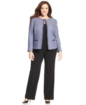 Tahari ASL Plus Size Tweed Fringe Jacket Pantsuit