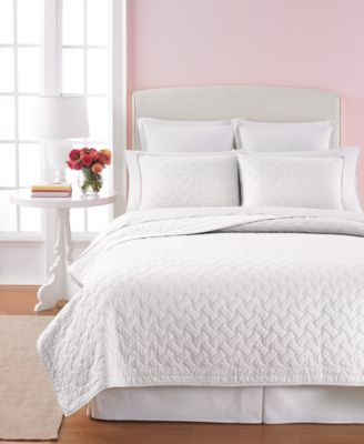 Martha Stewart Collection White Basket Stitch King Quilt