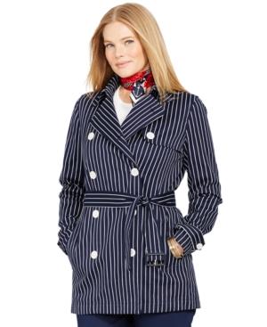 Lauren Ralph Lauren Plus Size Double-Breasted Striped Trench Coat