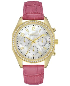 Caravelle New York by Bulova Women's Chronograph Pink Leather Strap Watch 36mm...