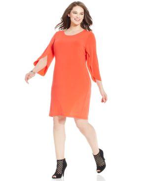 Spense Plus Size Split-Sleeve Shift Dress