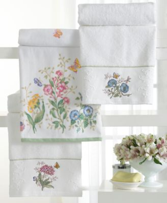 "Lenox ""Butterfly Meadow"" Embroidered Hand Towel, 16x28"""