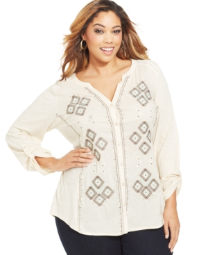 Style & co. Plus Size Embroidered Knit-Back Shirt