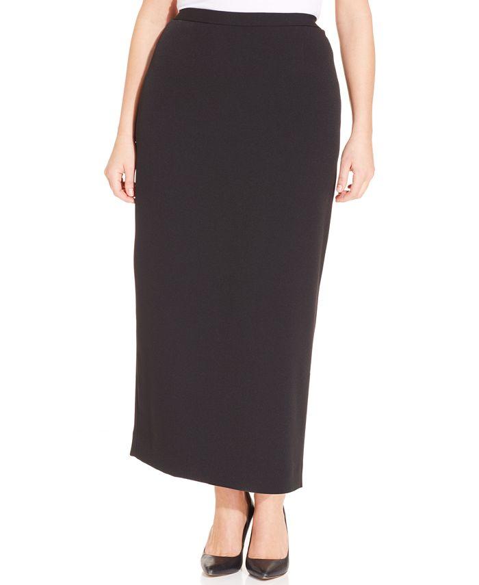 Kasper - Plus Size Straight-Fit Midi Skirt