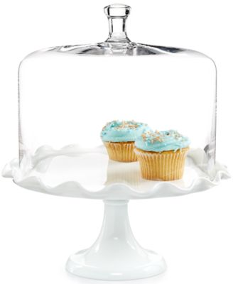 Martha Stewart Collection Milk Glass Ruffle Cake Dome