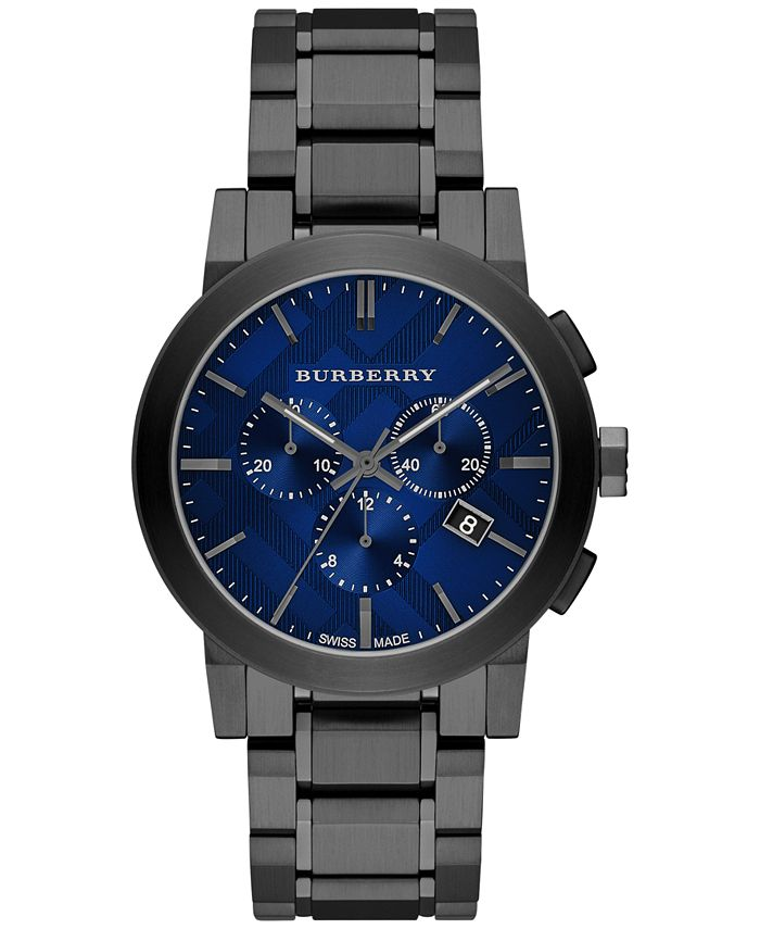 Burberry - Men's Swiss Chronograph Gray Ion-Plated Stainless Steel Bracelet Watch 42mm BU9365