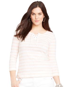 Lauren Ralph Lauren Plus Size Striped Lace-Up Top