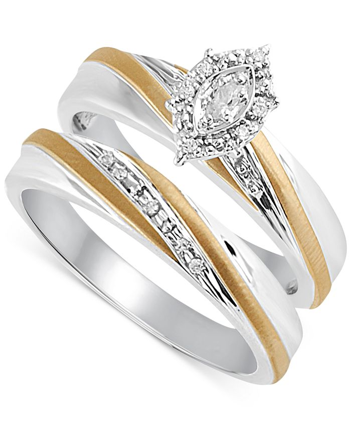 Beautiful Beginnings - Diamond Accent Bridal Set in 14k Gold and Sterling Silver