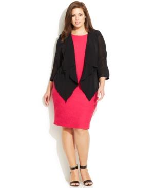 Calvin Klein Plus Size Illusion-Sleeve Draped Cardigan
