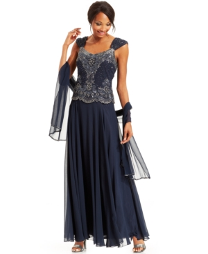 J Kara Beaded Bodice Chiffon Gown and Shawl $193.99 AT vintagedancer.com