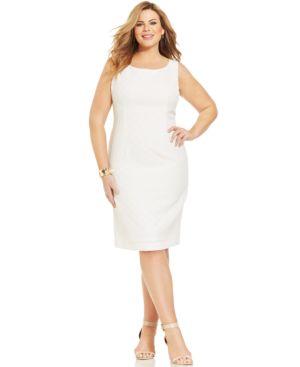 Kasper Plus Size Circle-Jacquard Empire-Waist Dress