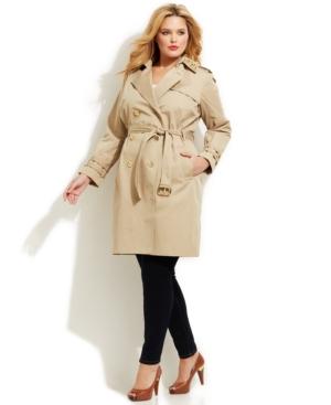 Michael Michael Kors Plus Size Studded Trench Coat