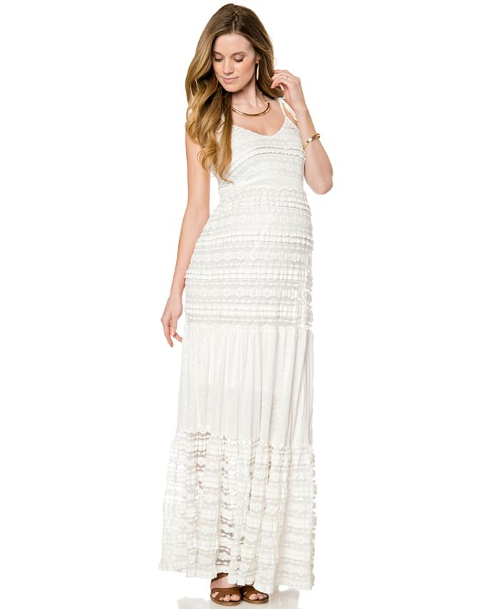 A Pea in the Pod - Maternity Lace Tiered Maxi Dress