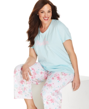 Charter Club Plus Size Mother Tee and Floral Pant Set