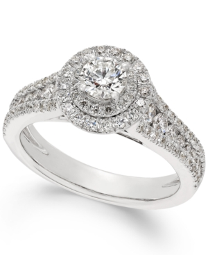 X3 Certified Diamond Halo Engagement Ring in 18k White Gold (1-1/4 ct. t.w.)