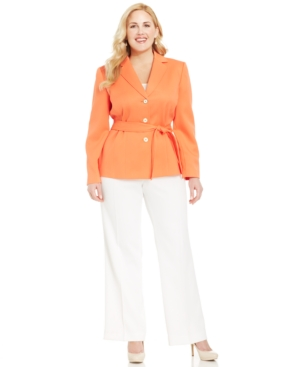 Tahari ASL Plus Size Colorblocked Belted Pantsuit