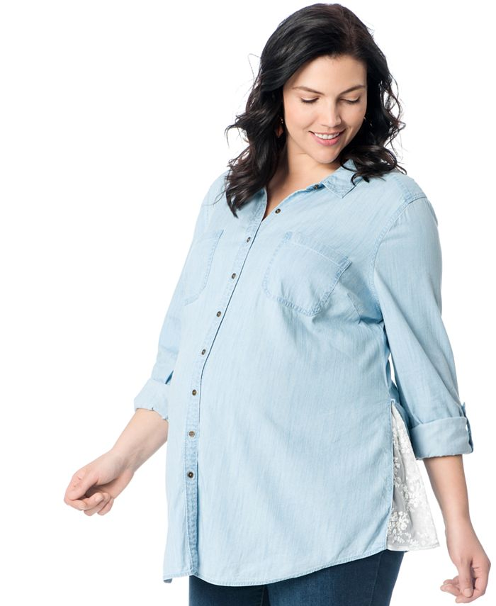 Motherhood Maternity - Maternity Plus Size Button-Front Blouse