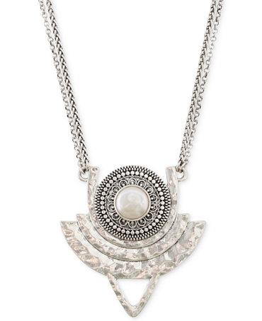 Lucky brand silver tone freshwater pearl tribal pendant for Macy s lucky brand jewelry
