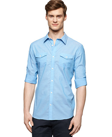 Calvin Klein Striped Roll Tab Sleeve Shirt Casual Button