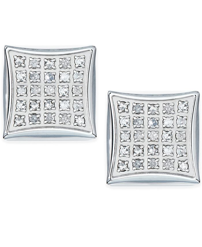 Macy's - Men's Diamond Stud Earrings in Stainless Steel (1/4 ct. t.w.)