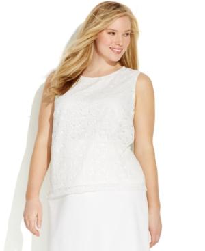 Calvin Klein Plus Size Sleeveless Lace Shell