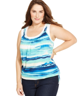 Style & co. Plus Size Printed Layered-Look Tank Top