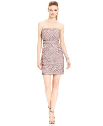 Adrianna Papell Strapless Beaded Shift Dress
