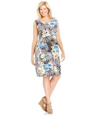 Jm Collection Plus Size Floral-Print Shift Dress