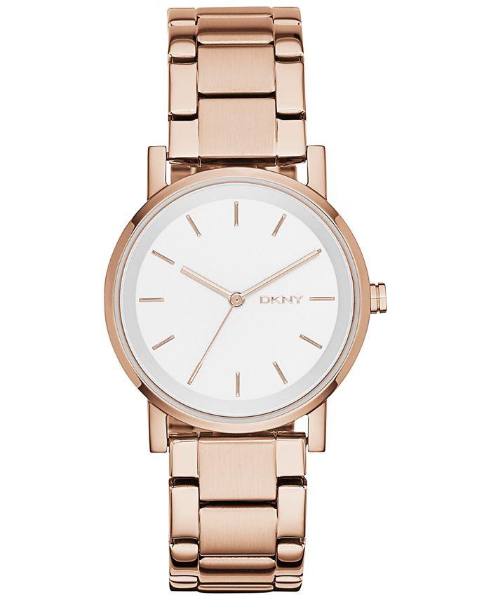 DKNY - Women's Soho Rose Gold-Tone Stainless Steel Bracelet Watch 34mm, Created for Macy's