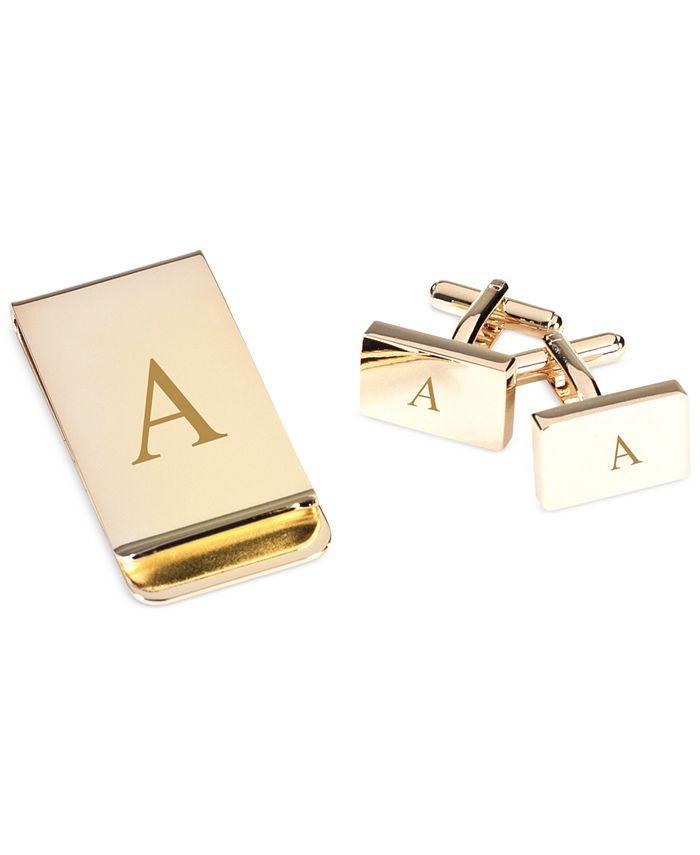 Bey-Berk - Gold Plated Rectangular Design Cufflinks & Money Clip Gift Set