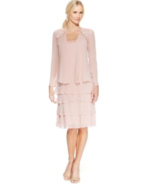 Sl Fashions Lace  Beaded Jacket Dress $119.00 AT vintagedancer.com