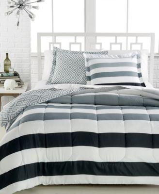 CLOSEOUT! Modern Stripe 3-Pc. Full/Queen Comforter Set