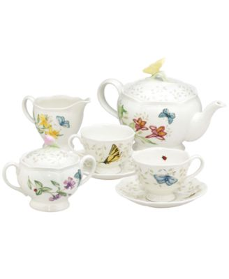 "Lenox ""Butterfly Meadow"" 7-Piece Tea Set, Service for Two"