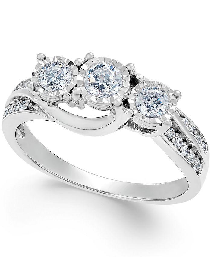 Macy's - Diamond Three-Stone Ring in 14k White Gold (1/2 ct. t.w.)