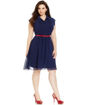 City Chic Plus Size Belted A-Line Shirtdress